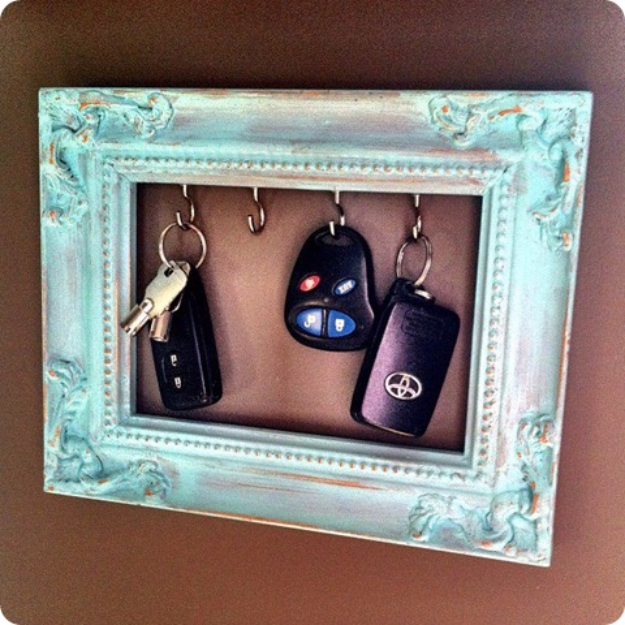 DIY Ideas for Your Entry - DIY Frame Key Holder - Cool and Creative Home Decor or Entryway and Hall. Modern, Rustic and Classic Decor on a Budget. Impress House Guests and Fall in Love With These DIY Furniture and Wall Art Ideas #diydecor #diyhomedecor