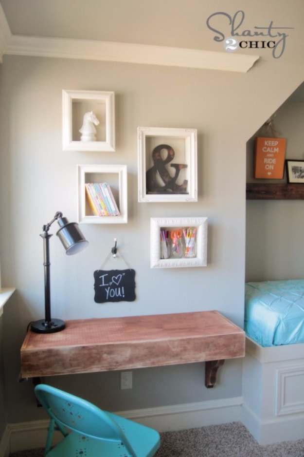 DIY Shelves and Do It Yourself Shelving Ideas - DIY Frame Shelves - Easy Step by Step Shelf Projects for Bedroom, Bathroom, Closet, Wall, Kitchen and Apartment. Floating Units, Rustic Pallet Looks and Simple Storage Plans #diy #diydecor #homeimprovement #shelves