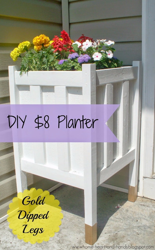 Creative DIY Planters - DIY Front Porch Planter With Gold Dipped Legs - Best Do It Yourself Planters and Crafts You Can Make For Your Plants - Indoor and Outdoor Gardening Ideas - Cool Modern and Rustic Home and Room Decor for Planting With Step by Step Tutorials #gardening #diyplanters #diyhomedecor