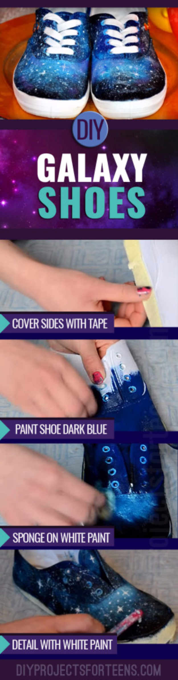 DIY Projects for Teenagers - DIY Galaxy Shoes - Cool Teen Crafts Ideas for Bedroom Decor, Gifts, Clothes and Fun Room Organization. Summer and Awesome School Stuff