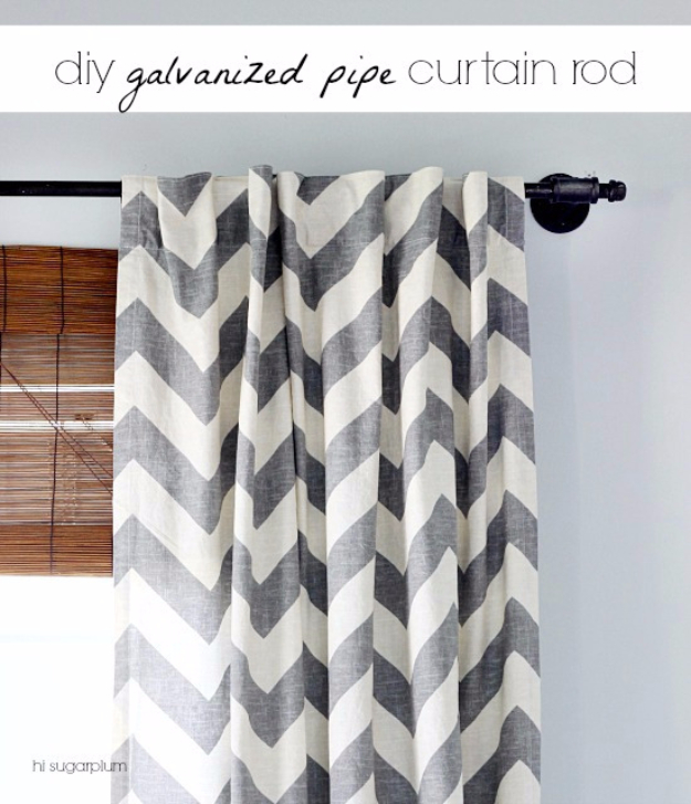 DIY Farmhouse Style Decor Ideas - DIY Galvanized Pipe Curtain Rod - Creative Rustic Ideas for Cool Furniture, Paint Colors, Farm House Decoration for Living Room, Kitchen and Bedroom #diy #diydecor #farmhouse #countrycrafts