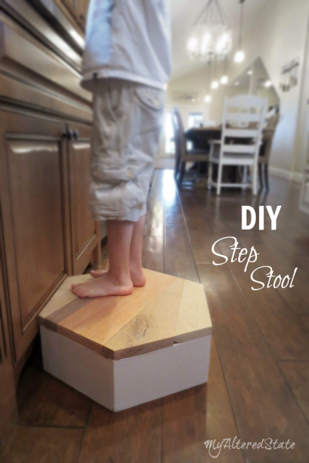 DIY Seating Ideas - DIY Geometric Step Stool - Creative Indoor Furniture, Chairs and Easy Seat Projects for Living Room, Bedroom, Dorm and Kids Room. Cheap Projects for those On A Budget. Tutorials for Cushions, No Sew Covers and Benches