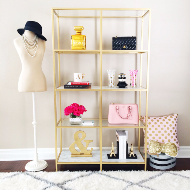 DIY Shelves and Do It Yourself Shelving Ideas - DIY Gold And Marble Shelves - Easy Step by Step Shelf Projects for Bedroom, Bathroom, Closet, Wall, Kitchen and Apartment. Floating Units, Rustic Pallet Looks and Simple Storage Plans #diy #diydecor #homeimprovement #shelves