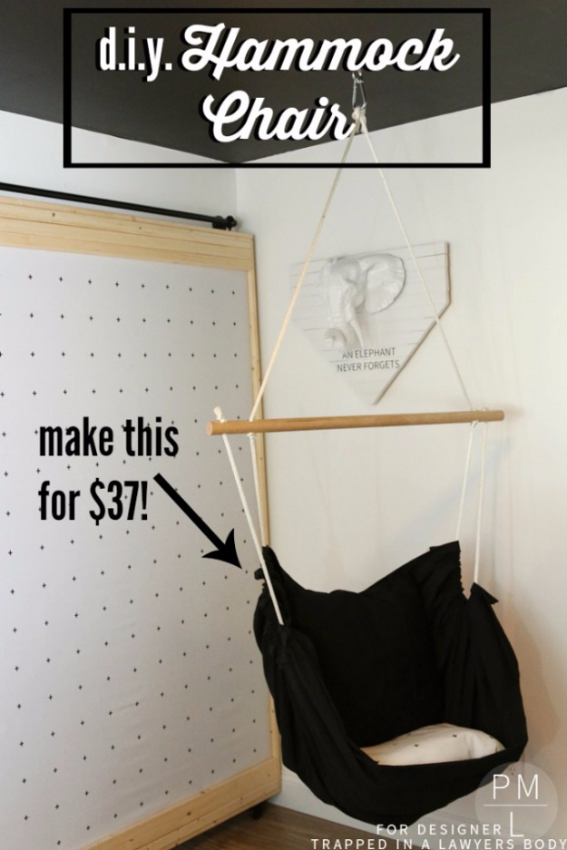 DIY Seating Ideas - DIY Hammock Chair - Creative Indoor Furniture, Chairs and Easy Seat Projects for Living Room, Bedroom, Dorm and Kids Room. Cheap Projects for those On A Budget. Tutorials for Cushions, No Sew Covers and Benches