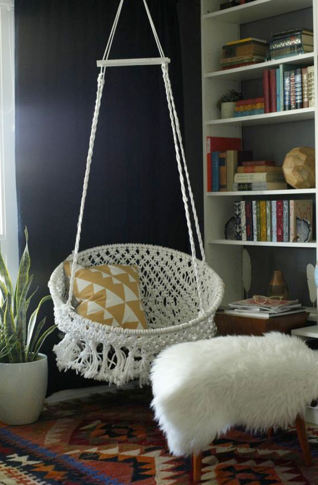 DIY Seating Ideas - DIY Hanging Macrame Chair - Creative Indoor Furniture, Chairs and Easy Seat Projects for Living Room, Bedroom, Dorm and Kids Room. Cheap Projects for those On A Budget. Tutorials for Cushions, No Sew Covers and Benches