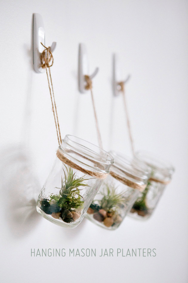 Creative DIY Planters - DIY Hanging Mason Jar Planter with Air Plants - Best Do It Yourself Planters and Crafts You Can Make For Your Plants - Indoor and Outdoor Gardening Ideas - Cool Modern and Rustic Home and Room Decor for Planting With Step by Step Tutorials #gardening #diyplanters #diyhomedecor