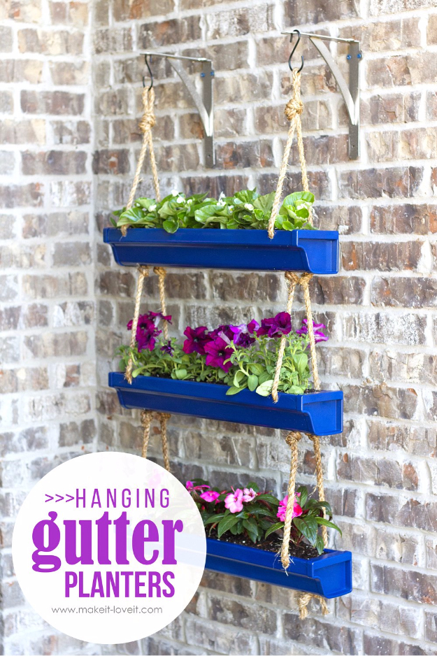 Creative DIY Planters - DIY Hanging Rain Gutter Planters - Best Do It Yourself Planters and Crafts You Can Make For Your Plants - Indoor and Outdoor Gardening Ideas - Cool Modern and Rustic Home and Room Decor for Planting With Step by Step Tutorials #gardening #diyplanters #diyhomedecor