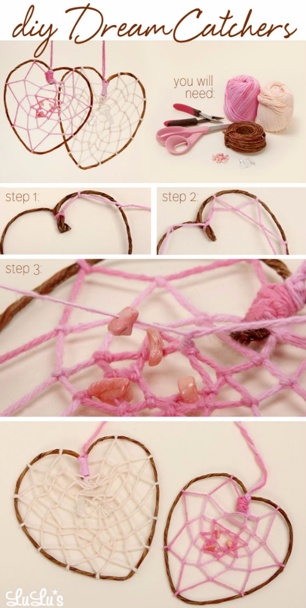 DIY Projects for Teenagers - DIY Heart Dreamcatcher - Cool Teen Crafts Ideas for Bedroom Decor, Gifts, Clothes and Fun Room Organization. Summer and Awesome School Stuff