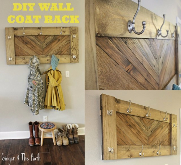 DIY Ideas for Your Entry - DIY Herringbone Wall Coat Rack - Cool and Creative Home Decor or Entryway and Hall. Modern, Rustic and Classic Decor on a Budget. Impress House Guests and Fall in Love With These DIY Furniture and Wall Art Ideas #diydecor #diyhomedecor