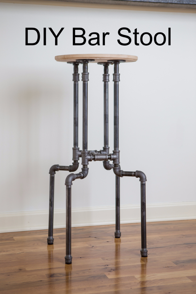 DIY Seating Ideas - DIY Industrial Bar Stool - Creative Indoor Furniture, Chairs and Easy Seat Projects for Living Room, Bedroom, Dorm and Kids Room. Cheap Projects for those On A Budget. Tutorials for Cushions, No Sew Covers and Benches