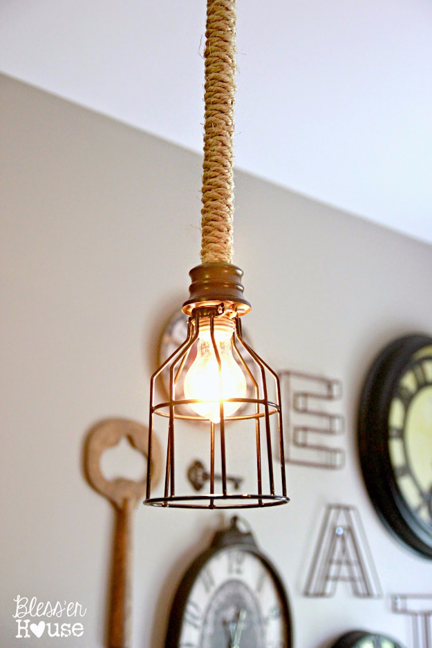 DIY Farmhouse Style Decor Ideas - DIY Industrial Pendant Light - Creative Rustic Ideas for Cool Furniture, Paint Colors, Farm House Decoration for Living Room, Kitchen and Bedroom #diy #diydecor #farmhouse #countrycrafts