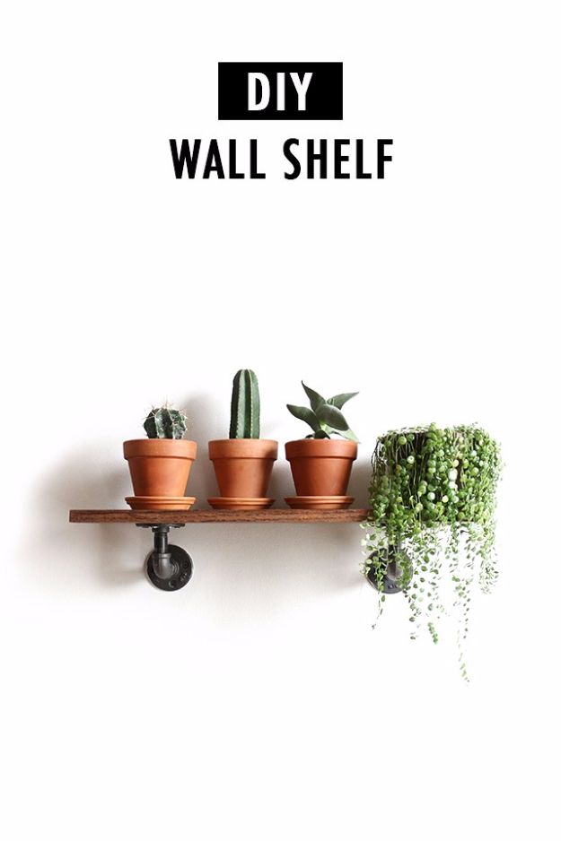 DIY Ideas for Your Entry - DIY Industrial Wall Shelves - Cool and Creative Home Decor or Entryway and Hall. Modern, Rustic and Classic Decor on a Budget. Impress House Guests and Fall in Love With These DIY Furniture and Wall Art Ideas #diydecor #diyhomedecor