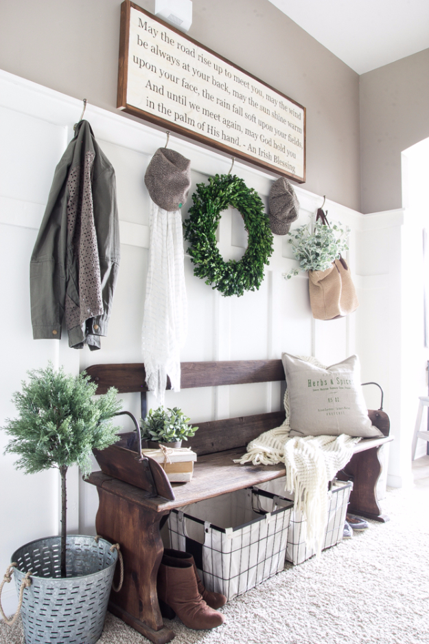 DIY Ideas for Your Entry - DIY Irish Blessing Sign And Entryway - Cool and Creative Home Decor or Entryway and Hall. Modern, Rustic and Classic Decor on a Budget. Impress House Guests and Fall in Love With These DIY Furniture and Wall Art Ideas #diydecor #diyhomedecor