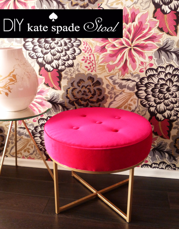DIY Seating Ideas - DIY Kate Spade Stool - Creative Indoor Furniture, Chairs and Easy Seat Projects for Living Room, Bedroom, Dorm and Kids Room. Cheap Projects for those On A Budget. Tutorials for Cushions, No Sew Covers and Benches