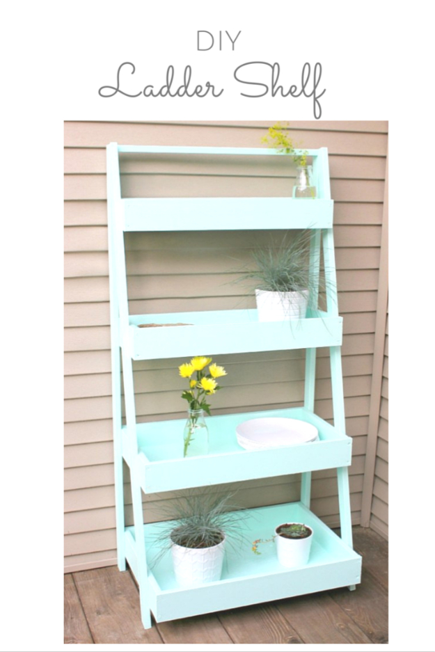 DIY Shelves and Do It Yourself Shelving Ideas - DIY Ladder Shelf - Easy Step by Step Shelf Projects for Bedroom, Bathroom, Closet, Wall, Kitchen and Apartment. Floating Units, Rustic Pallet Looks and Simple Storage Plans #diy #diydecor #homeimprovement #shelves