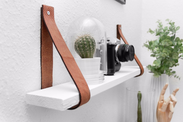 DIY Shelves and Do It Yourself Shelving Ideas - DIY Leather Belt Shelf - Easy Step by Step Shelf Projects for Bedroom, Bathroom, Closet, Wall, Kitchen and Apartment. Floating Units, Rustic Pallet Looks and Simple Storage Plans #diy #diydecor #homeimprovement #shelves