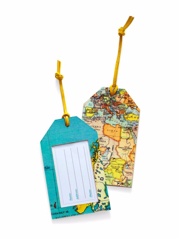 DIY Projects to Make and Sell on Etsy - DIY Map Luggage Tags - Learn How To Make Money on Etsy With these Awesome, Cool and Easy Crafts and Craft Project Ideas - Cheap and Creative Crafts to Make and Sell for Etsy Shop #etsy #crafts