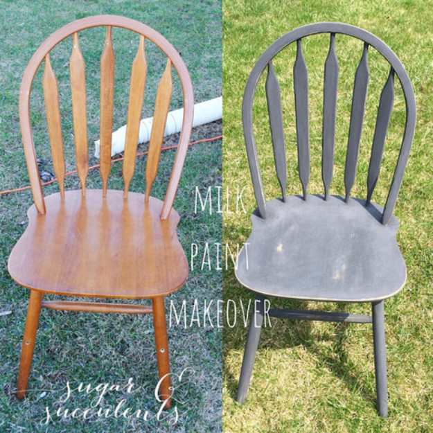 DIY Seating Ideas - DIY Milk Paint Chair Makeover - Creative Indoor Furniture, Chairs and Easy Seat Projects for Living Room, Bedroom, Dorm and Kids Room. Cheap Projects for those On A Budget. Tutorials for Cushions, No Sew Covers and Benches