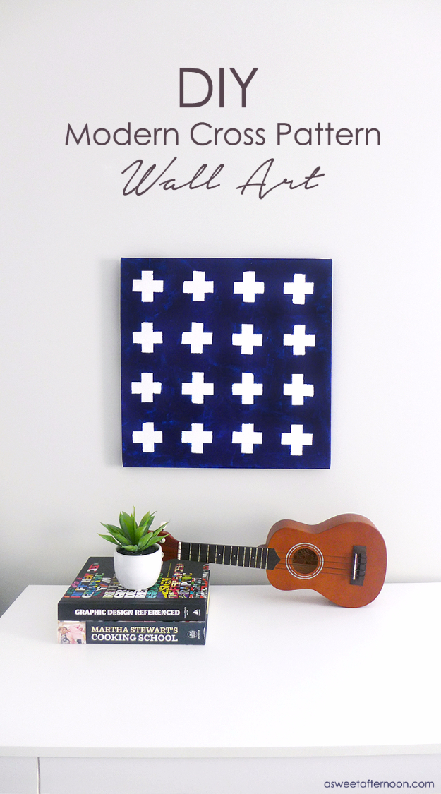 DIY Projects for Teenagers - DIY Modern Navy White Cross Pattern Wall Art - Cool Teen Crafts Ideas for Bedroom Decor, Gifts, Clothes and Fun Room Organization. Summer and Awesome School Stuff