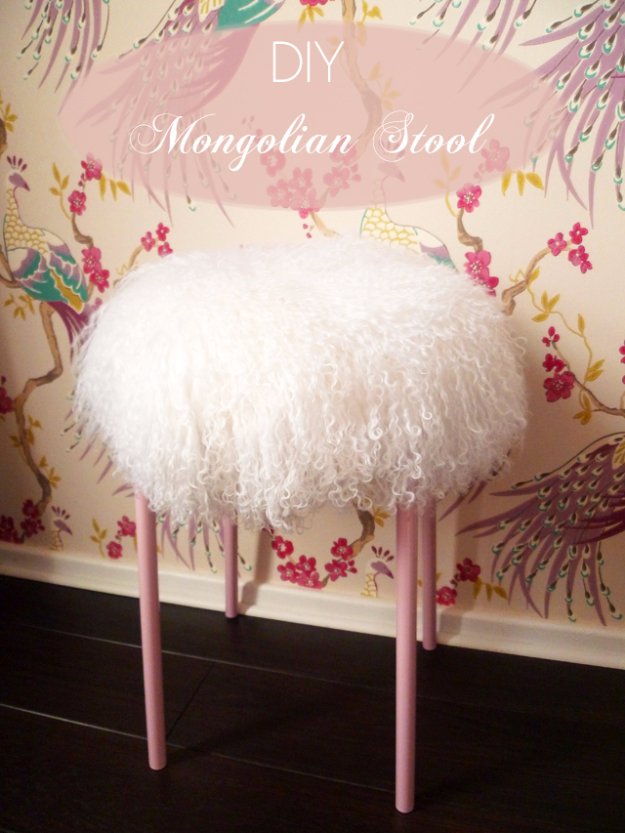 DIY Seating Ideas - DIY Mongolian Lamb Stool - Creative Indoor Furniture, Chairs and Easy Seat Projects for Living Room, Bedroom, Dorm and Kids Room. Cheap Projects for those On A Budget. Tutorials for Cushions, No Sew Covers and Benches
