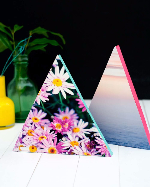 DIY Projects for Teenagers - DIY Neon Triangle Photo Frames - Cool Teen Crafts Ideas for Bedroom Decor, Gifts, Clothes and Fun Room Organization. Summer and Awesome School Stuff