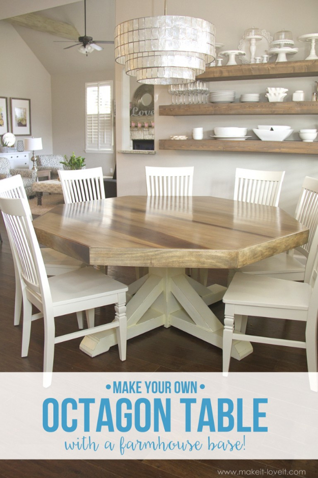 DIY Dining Room Table Projects   DIY Octagon Dining Room Table With  Farmhouse Base   Creative