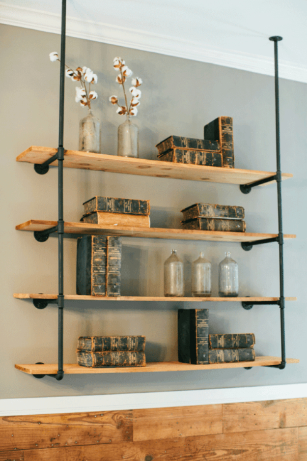 DIY Shelves and Do It Yourself Shelving Ideas - DIY Open Pipe Shelving - Easy Step by Step Shelf Projects for Bedroom, Bathroom, Closet, Wall, Kitchen and Apartment. Floating Units, Rustic Pallet Looks and Simple Storage Plans #diy #diydecor #homeimprovement #shelves