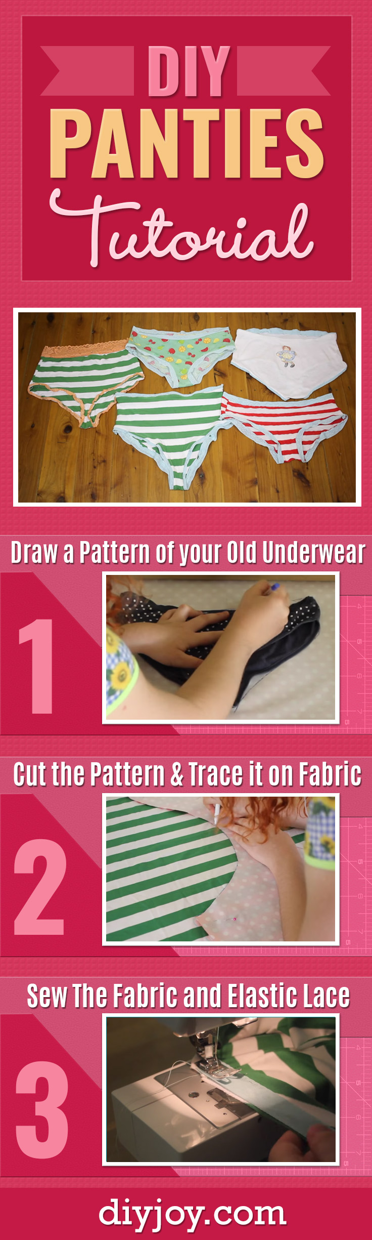 Easy Sewing Tutorials - Free Sewing Patterns - DIY Sewing Videos - DIY Panties Tutorial for Making Custom Underwear In the Fabric Of Your Choice