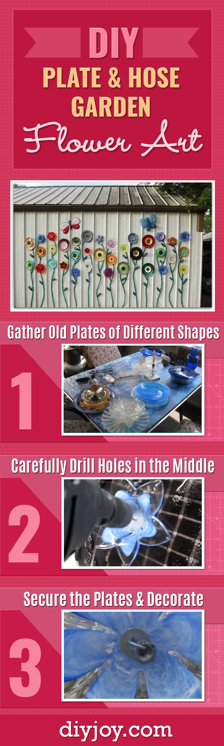 DIY Ideas for the Backyard - Outdoors DIY Plate and Hose Garden Art With Flowers - Cheap Home Decor on A Budget for Your Yard