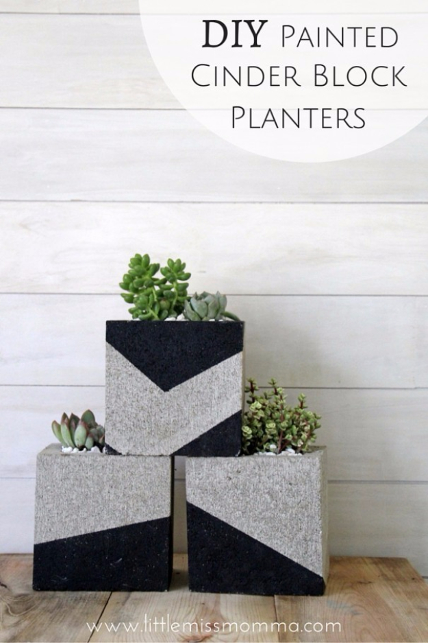 Creative DIY Planters - DIY Painted Cinder Block Planters - Best Do It Yourself Planters and Crafts You Can Make For Your Plants - Indoor and Outdoor Gardening Ideas - Cool Modern and Rustic Home and Room Decor for Planting With Step by Step Tutorials #gardening #diyplanters #diyhomedecor