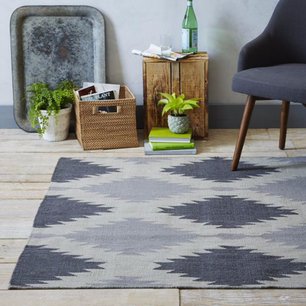 Easy DIY Rugs and Handmade Rug Making Project Ideas - DIY Painted Rug Inspired By West Elm - Simple Home Decor for Your Floors, Fabric, Area, Painting Ideas, Rag Rugs, No Sew, Dropcloth and Braided Rug Tutorials