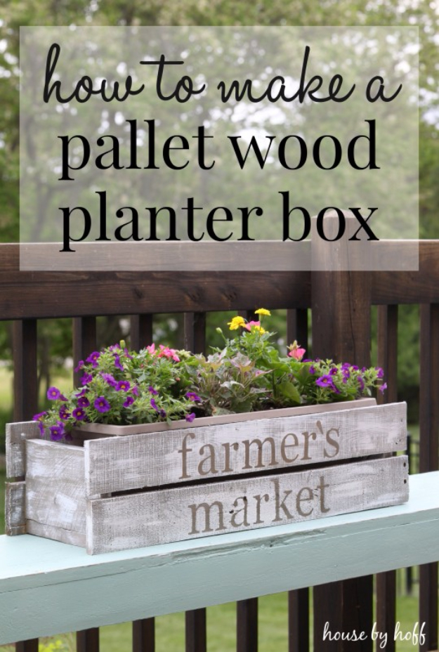 Creative DIY Planters - DIY Pallet Wood Planter Box - Best Do It Yourself Planters and Crafts You Can Make For Your Plants - Indoor and Outdoor Gardening Ideas - Cool Modern and Rustic Home and Room Decor for Planting With Step by Step Tutorials #gardening #diyplanters #diyhomedecor