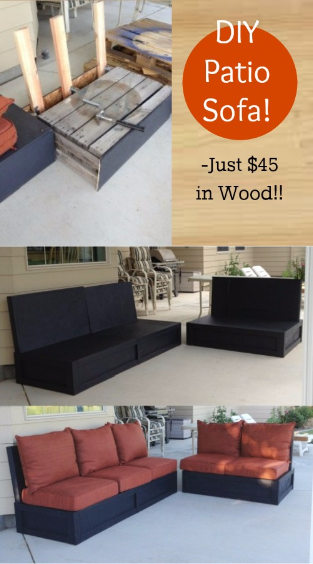 DIY Sofas and Couches - DIY Patio Sofa And Love Seat - Easy and Creative Furniture and Home Decor Ideas - Make Your Own Sofa or Couch on A Budget - Makeover Your Current Couch With Slipcovers, Painting and More. Step by Step Tutorials and Instructions #diy #furniture