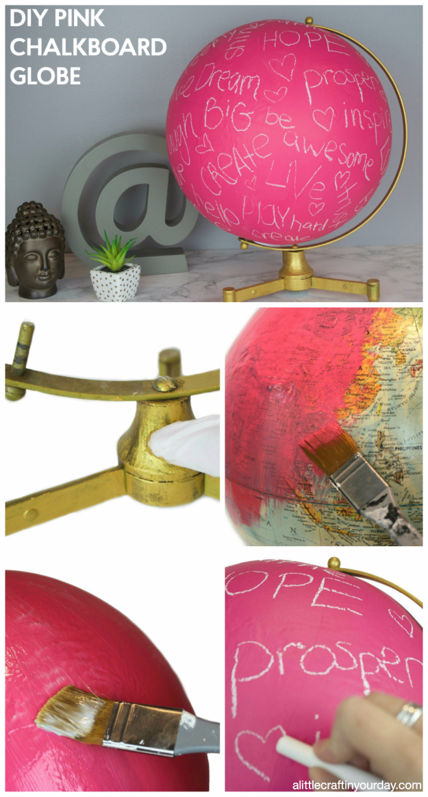 DIY Projects for Teenagers - DIY Pink Chalkboard Globe - Cool Teen Crafts Ideas for Bedroom Decor, Gifts, Clothes and Fun Room Organization. Summer and Awesome School Stuff http://diyjoy.com/cool-diy-projects-for-teenagers