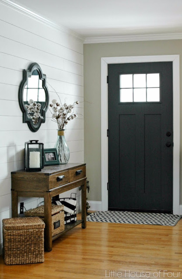 DIY Ideas for Your Entry - DIY Plank Wall Tutorial - Cool and Creative Home Decor or Entryway and Hall. Modern, Rustic and Classic Decor on a Budget. Impress House Guests and Fall in Love With These DIY Furniture and Wall Art Ideas http://diyjoy.com/diy-home-decor-entry