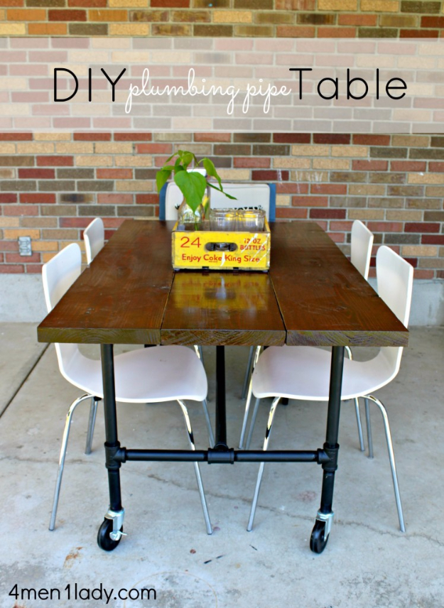 DIY Dining Room Table Projects - DIY Plumbing Pipe Table Tutorial - Creative Do It Yourself Tables and Ideas You Can Make For Your Kitchen or Dining Area. Easy Step by Step Tutorials that Are Perfect For Those On A Budget #diyfurniture #diningroom