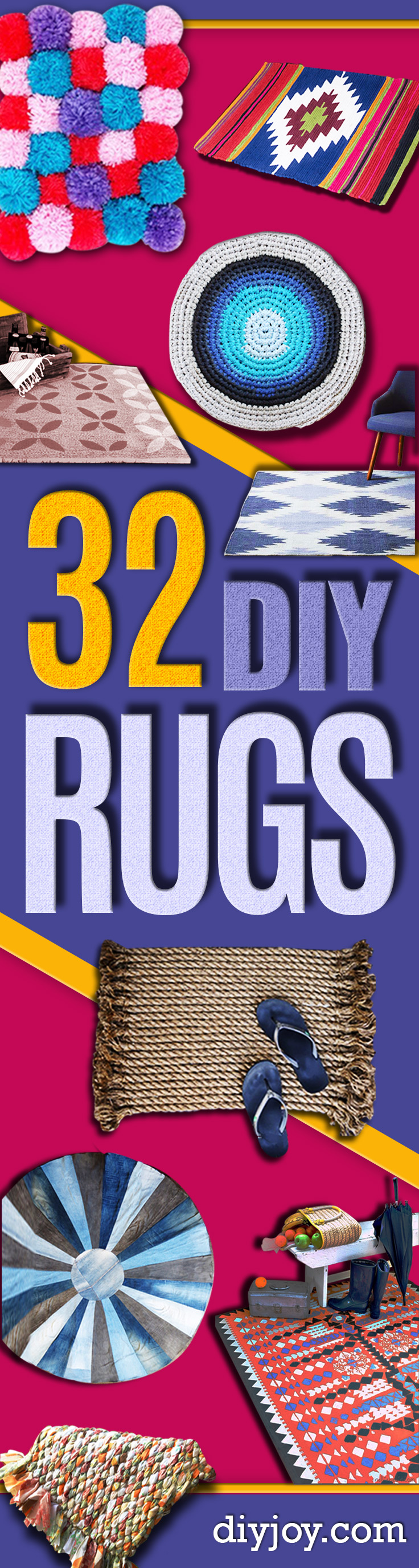 Easy DIY Rugs and Handmade Rug Making Project Ideas - Simple Home Decor for Your Floors, Fabric, Area, Painting Ideas, Rag Rugs, No Sew, Dropcloth and Braided Rug Tutorials