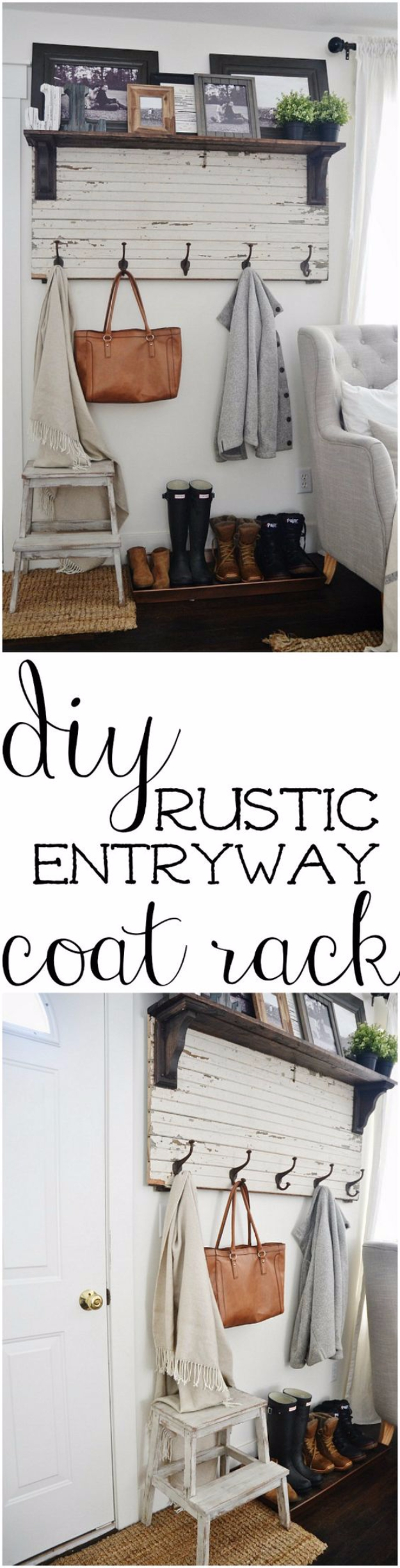 DIY Ideas for Your Entry - DIY Rustic Entryway Coat Rack - Cool and Creative Home Decor or Entryway and Hall. Modern, Rustic and Classic Decor on a Budget. Impress House Guests and Fall in Love With These DIY Furniture and Wall Art Ideas #diydecor #diyhomedecor