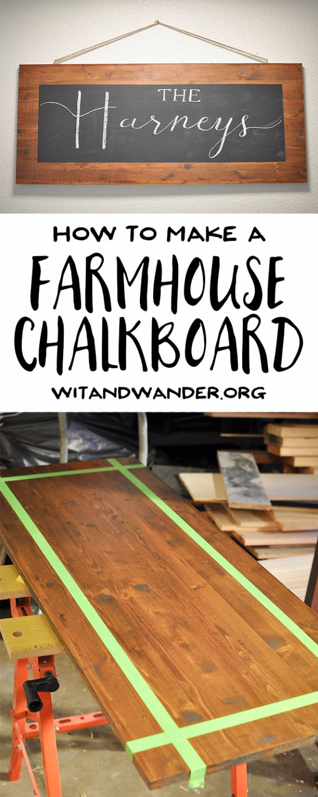 DIY Farmhouse Style Decor Ideas - DIY Rustic Farmhouse Chalkboard - Creative Rustic Ideas for Cool Furniture, Paint Colors, Farm House Decoration for Living Room, Kitchen and Bedroom #diy #diydecor #farmhouse #countrycrafts