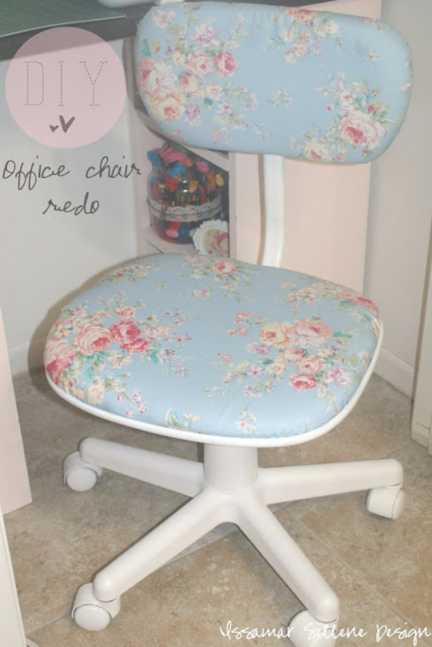 DIY Seating Ideas - DIY Shabby Chic Office Chair Redo - Creative Indoor Furniture, Chairs and Easy Seat Projects for Living Room, Bedroom, Dorm and Kids Room. Cheap Projects for those On A Budget. Tutorials for Cushions, No Sew Covers and Benches