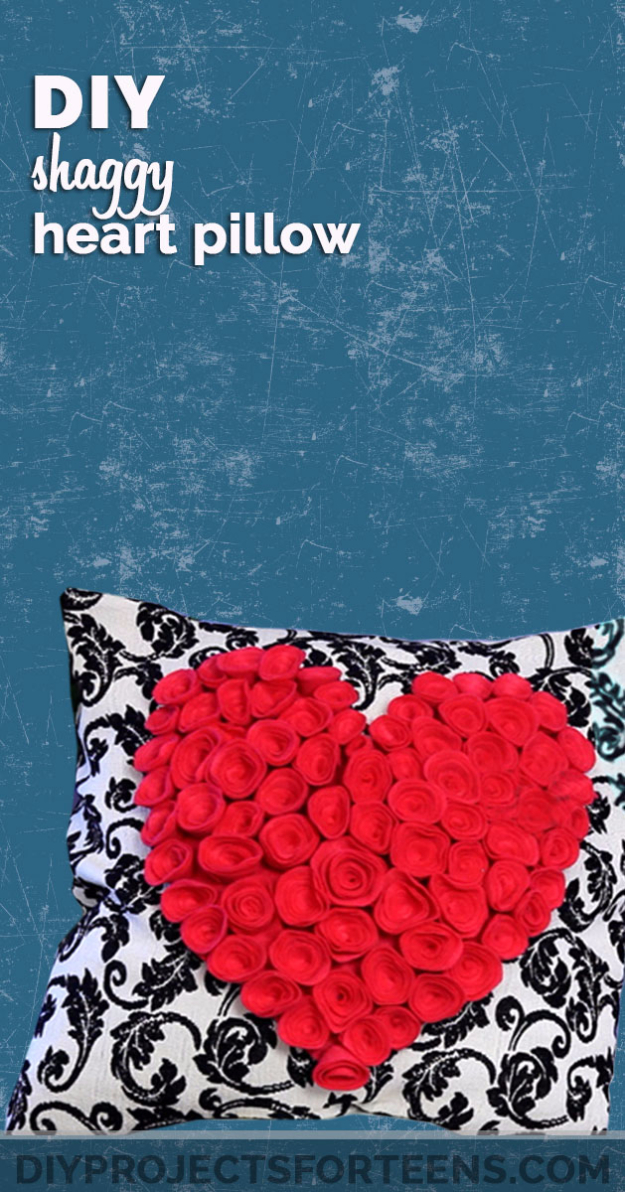 DIY Projects for Teenagers - DIY Shaggy Heart Pillow - Cool Teen Crafts Ideas for Bedroom Decor, Gifts, Clothes and Fun Room Organization. Summer and Awesome School Stuff