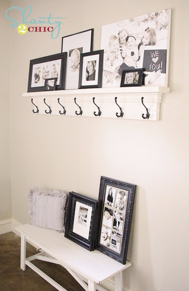 DIY Shelves and Do It Yourself Shelving Ideas - DIY Shelf With Hooks - Easy Step by Step Shelf Projects for Bedroom, Bathroom, Closet, Wall, Kitchen and Apartment. Floating Units, Rustic Pallet Looks and Simple Storage Plans #diy #diydecor #homeimprovement #shelves