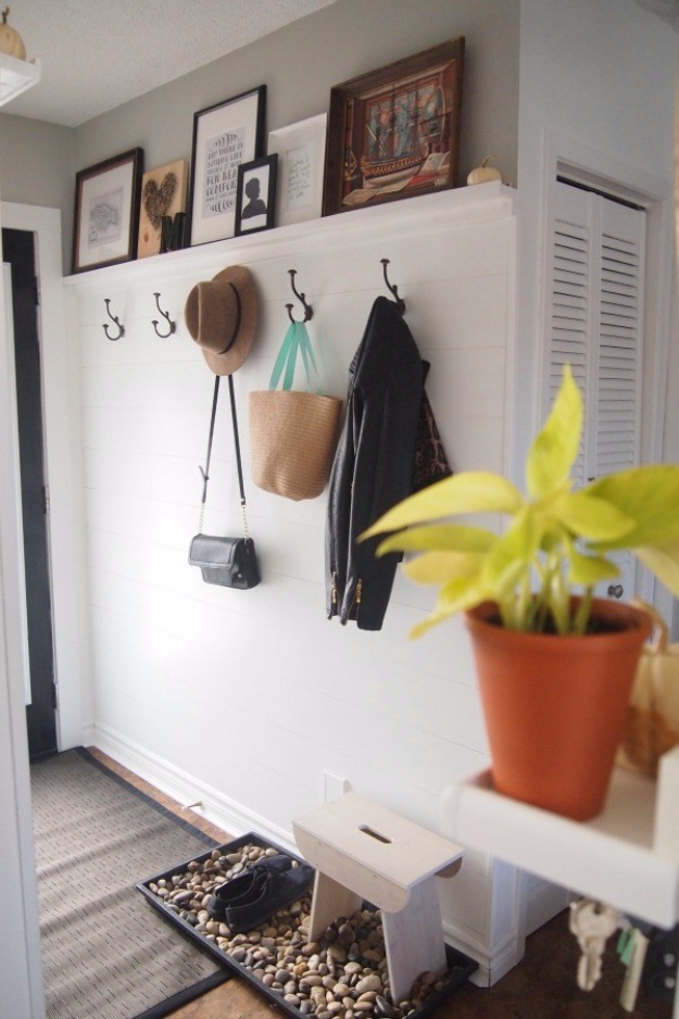 DIY Ideas for Your Entry - DIY Shiplap Walls For Your Entry Way - Cool and Creative Home Decor or Entryway and Hall. Modern, Rustic and Classic Decor on a Budget. Impress House Guests and Fall in Love With These DIY Furniture and Wall Art Ideas http://diyjoy.com/diy-home-decor-entry