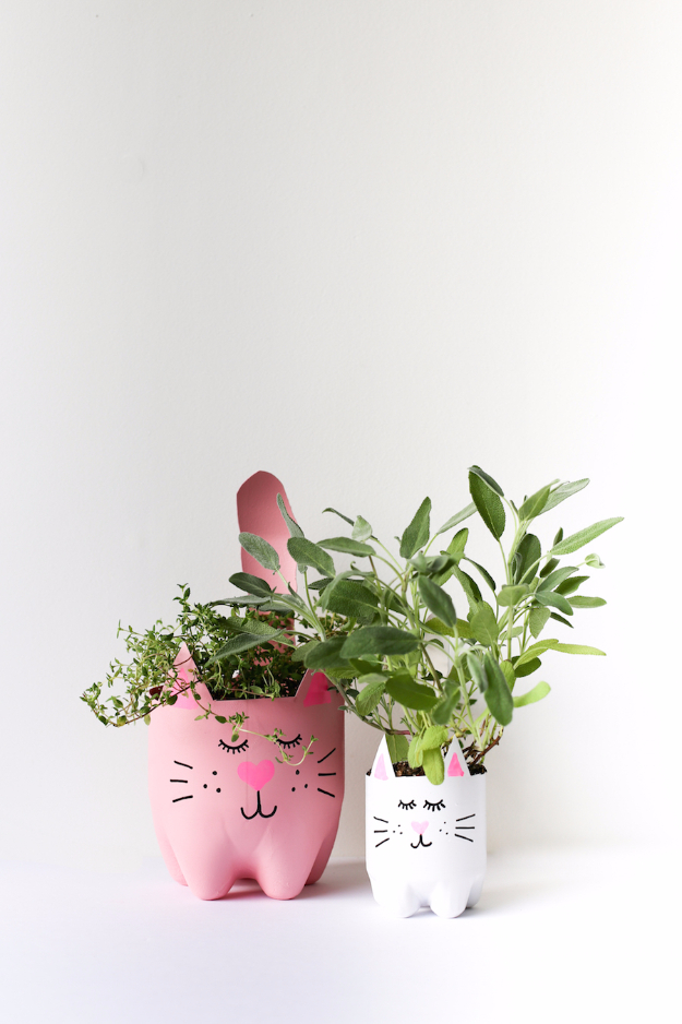 Creative DIY Planters - DIY Soda Bottle Kitty Cat Planters - Best Do It Yourself Planters and Crafts You Can Make For Your Plants - Indoor and Outdoor Gardening Ideas - Cool Modern and Rustic Home and Room Decor for Planting With Step by Step Tutorials #gardening #diyplanters #diyhomedecor