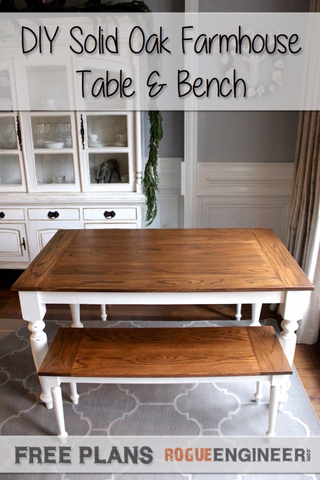 DIY Dining Room Table Projects - DIY Solid Oak Dining Table - Creative Do It Yourself Tables and Ideas You Can Make For Your Kitchen or Dining Area. Easy Step by Step Tutorials that Are Perfect For Those On A Budget #diyfurniture #diningroom
