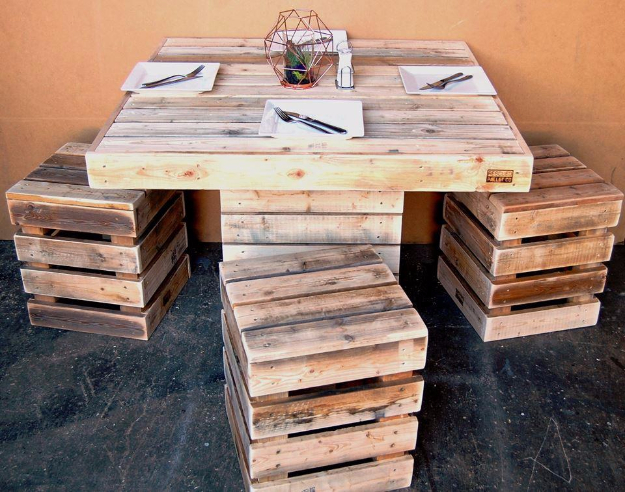 DIY Dining Room Table Projects - DIY Square Pallet Dining Set - Creative Do It Yourself Tables and Ideas You Can Make For Your Kitchen or Dining Area. Easy Step by Step Tutorials that Are Perfect For Those On A Budget #diyfurniture #diningroom