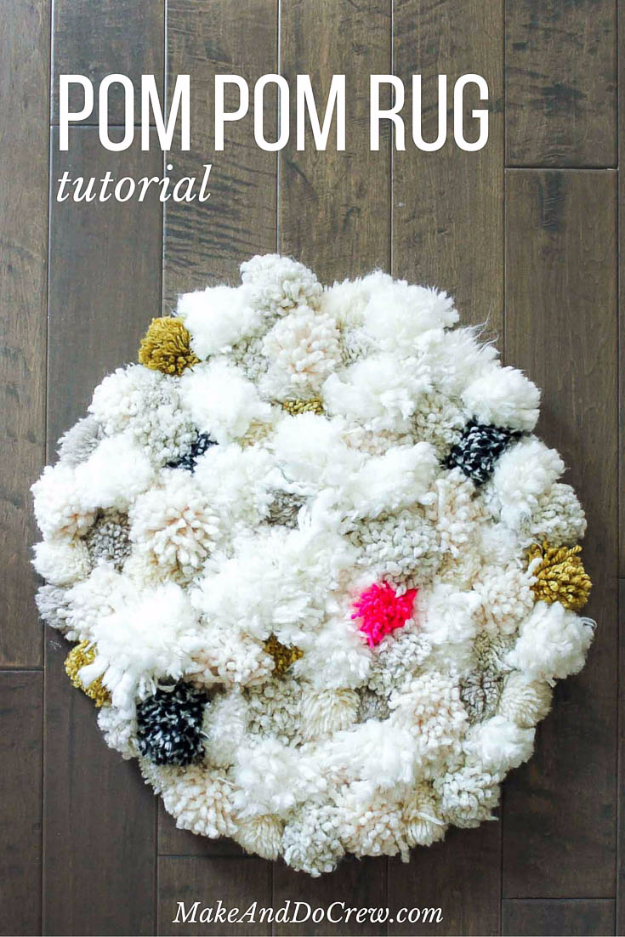 Easy DIY Rugs and Handmade Rug Making Project Ideas - DIY Squishy Pom Pom Rug - Simple Home Decor for Your Floors, Fabric, Area, Painting Ideas, Rag Rugs, No Sew, Dropcloth and Braided Rug Tutorials