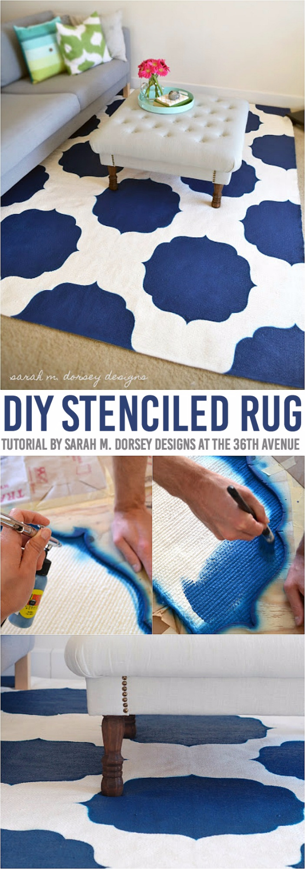 Easy DIY Rugs and Handmade Rug Making Project Ideas - DIY Stenciled Morrocan Rug - Simple Home Decor for Your Floors, Fabric, Area, Painting Ideas, Rag Rugs, No Sew, Dropcloth and Braided Rug Tutorials