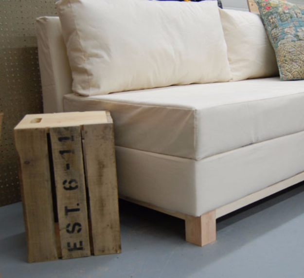 DIY Sofas and Couches - DIY Storage Sofa - Easy and Creative Furniture and Home Decor Ideas - Make Your Own Sofa or Couch on A Budget - Makeover Your Current Couch With Slipcovers, Painting and More. Step by Step Tutorials and Instructions http://diyjoy.com/diy-sofas-couches
