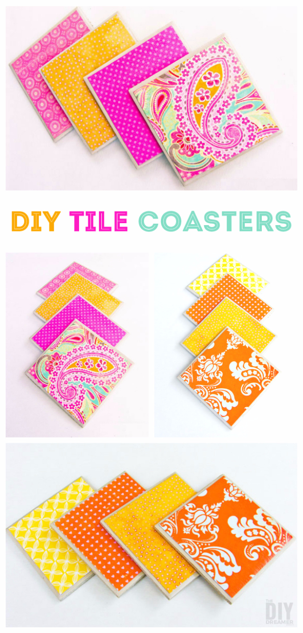 DIY Projects to Make and Sell on Etsy - DIY Tile Coasters - Learn How To Make Money on Etsy With these Awesome, Cool and Easy Crafts and Craft Project Ideas - Cheap and Creative Crafts to Make and Sell for Etsy Shop #etsy #crafts